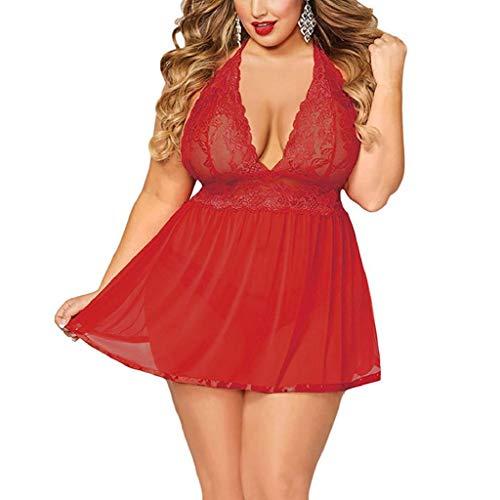 Lenceria Erotica de Mujer,SHOBDW Ropa Interior Sexy con Cuello En V Vestido Camisola Encaje Espalda Abierta Ropa De Dormir De Talla Grande Babydolls Conjunto De Lencería Sexy para Mujer(Rojo,3XL)