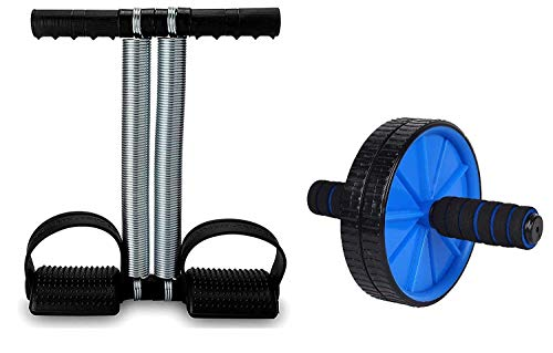 BIGBOXERS Ab Double Spring Tummy Trimmer with Ab Wheel Roller Combo Core Abdominal Workout Weight Loss Trimmer-Abs Exerciser-Body Toner for Men & Women(Random Color)