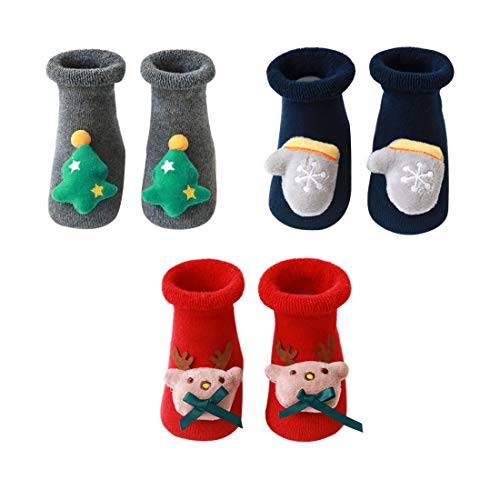 N&P Calcetines Antideslizantes Navideños para Bebé Niños Niñas Recién Nacido Infantil de Felpa Termicos Suave Algodón Lindos con Papá Noel Reno Arbol de Navidad Invierno 3 Pares - Rojo M