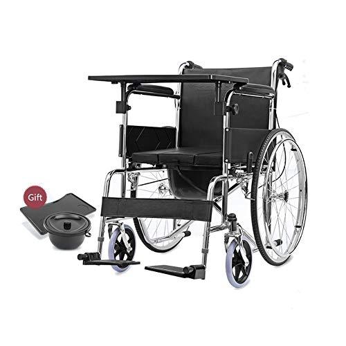 Wheelchair H-Rollstuhl Faltrollstuhl HJH-Rollstuhl, Rollstuhl Stahl, faltbar, haltbar, kann for ältere Menschen, Behinderte, Kleine Esstisch verwendet Werden Eigenantrieb (Size : #1)