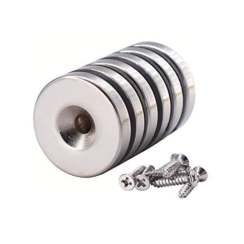 6 Stück Neodym Scheiben Magnete 25 x 5 mm, Senkkopf Loch, 10 kg Zugkraft mit 6 Schrauben Magnetpro