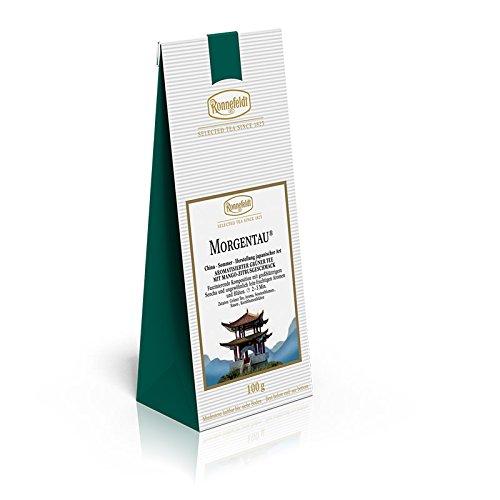 Morgentau Ronnefeldt, aromatisierter Grüntee mit Mango-Zitrusgeschmack, 100 g 4er Pack