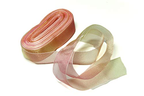ALL in ONE Gradient Rainbow Color Sheer Organza Ribbon for DIY Craft Gift Holidays (Style#3)