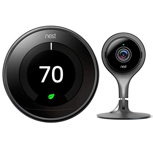 Google Nest Learning Smart Thermostat - 3rd Generation - Mirror Black T3018US Bundle with Nest Cam Indoor Smart Security Video Camera NC1102ES