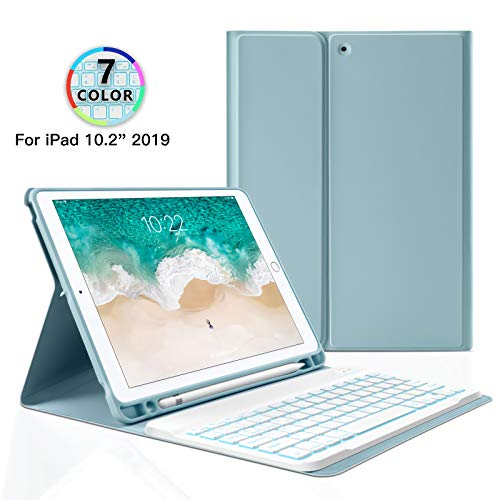 Aidashine Funda de Teclado para iPad 10.2 2019 7ma generación, Teclado de Tableta Bluetooth extraíble Teclado retroiluminado BT Cubierta Inteligente con Soporte para lápiz,Azul,7ColorBacklit