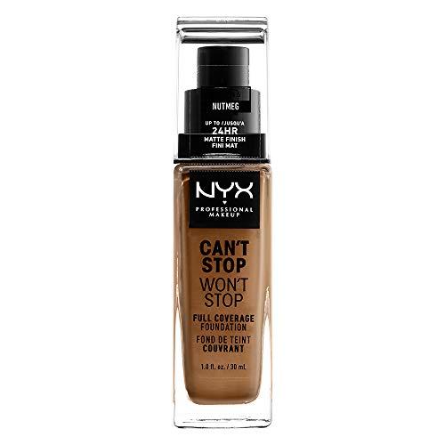 NYX Professional Makeup Fond de Teint Liquide Couvrant Tenue 24h Can't Stop Won't Stop, Waterproof, Fini Mat, Teinte : Nutmeg