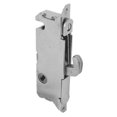 """Prime-Line E 2199 Stainless Steel Mortise Lock - Adjustable, Spring-Loaded Hook Latch Projection for Sliding Patio Doors Constructed of Wood, Aluminum and Vinyl, 3-11/16"""", 45 Degree Keyway, Round Face"""