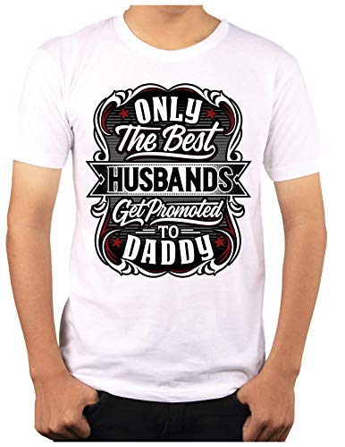 Wow T-Shirts 'Only Best Husband Got Promoted to Daddy' Stylish T-Shirt with Saying T-Shirts - Themed Printed Cotton Unisex T-Shirt (XL, Black)