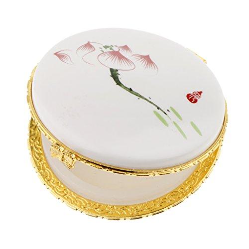 Sharplace Vide Pot Céramique Récipient Cosmétqiue Rechargeable à Poudre Libre de Fondation de Maquillage - Lotus rouge