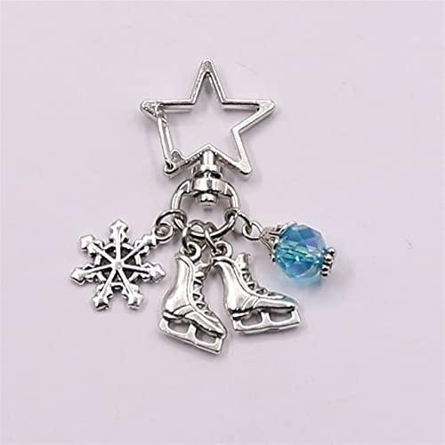 Llavero Llavero de Nieve con Llavero Azul Llavero Llavero joyería Antigua Plata Cuchillas de Hielo encantos Patines Colgante de joyería de Invierno (Color : 1, Size : J)