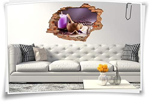 Medianlux 3D muurschildering muursticker SPA wellness lavendel kaarsen deco schaal badkamer