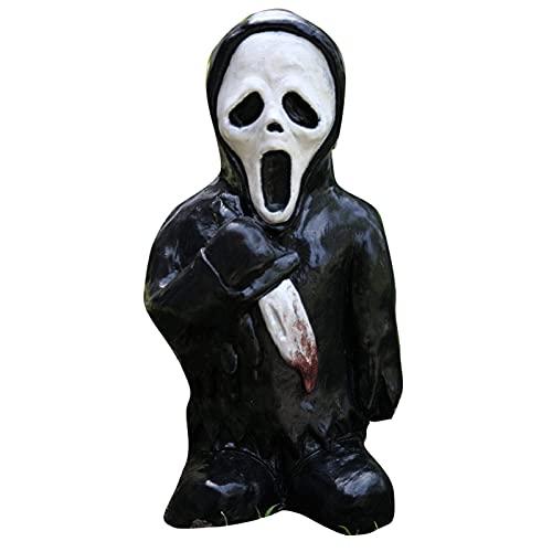 SIZHINAI Estátua de jardim de filmes de terror, escultura assustadora de Halloween, gnomo de horror de pesadelo, ornamento de gnomo matador de Halloween para casa, pátio, mesa
