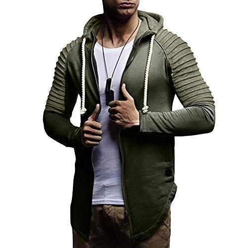 Mantel Herren Reissverschluss, Holeider Hoodie Jacke Falten Winter Parka Outwear Tops Pullover mit Kapuzen, Sweatshirt Freizeitjacke Mode