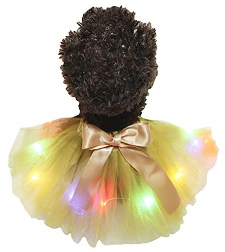 Petitebella - Tutú de iluminación LED para cachorro, color dorado y pequeño