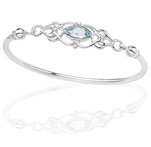 DTPsilver - Damen - Armreif 925 Sterling Silber und Blautopas - Keltische Knoten -