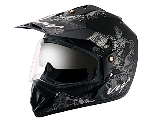 Vega Off Road OR-D/V-SKT-DKS_M Sketch Full Face Graphic Helmet (Dull Black and...