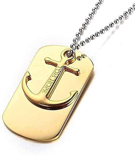 ZJJLWL Co.,ltd Collar Collar de Acero Inoxidable Joyas Collar de Hombre Hombres Soldado Americano Ancla Collar con Colgante de Acero de Titanio Regalo de Oro Blanco