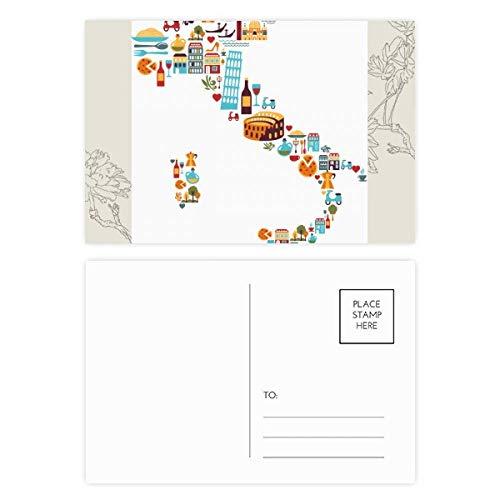DIYthinker Map Italië Nationale Vlag Aangepaste Landschap Bloem Postkaart Set Thanks Card Mailing Side 20 stks 5.7 inch x 3.8 inch Multi kleuren