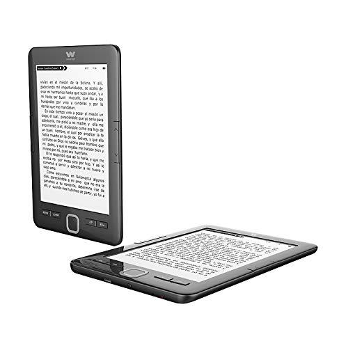 "Woxter E-Book Scriba 195 Black Lector de libros electrónicos 6""(1024x758, E-Ink Pearl pantalla más blanca, EPUB, PDF) Micro SD, Guarda más de 4000 libros, Textura engomada, color negro"