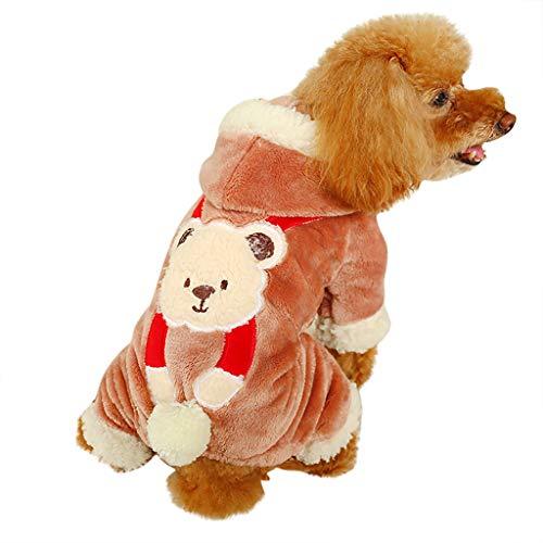 Coversolat Warme Hundepullover Kleine Hunde, Hund Pullover mit Bär Muster Gefütterte Hoodie Sweatshirt Hundemantel Hundekleidung