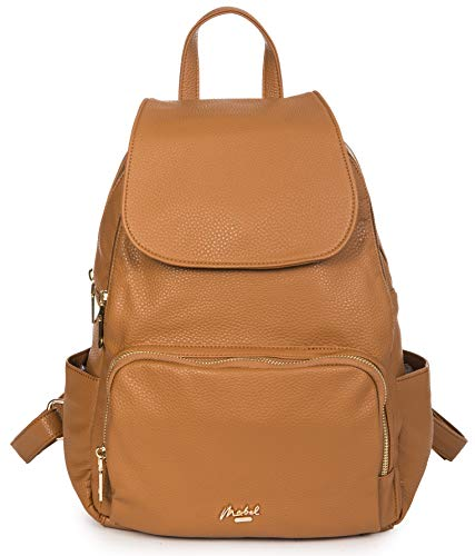 Mabel London Unisex Backpack Bag - Plain Soft Faux Leather - Womens Mens Travel Rucksack Bag - Small/Medium Size - Jade (Light Tan)