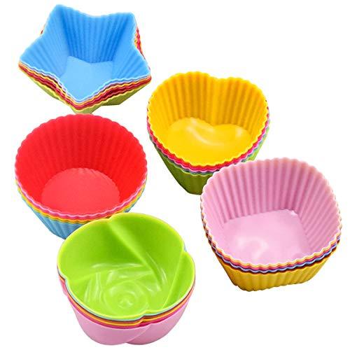 HQdeal Cupcake-Formen aus Silikon, 30 Stück Wiederverwendbare Backförmchen, Muffinförmchen, Cupcakeförmchen, Backförmchen, Muffin Förmchen für Kuchen, Eis, Puddings, Gelee