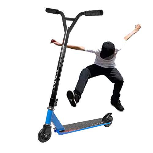 Scooters de Pedales Extremos para NiñOs Adolescentes Dos Ruedas Scooters Competitivos,Scooters Escolares con Cool Stunts/OperacióN FáCil,Azul,Iron