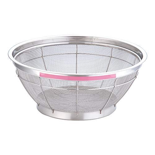 遠藤商事 業務用 TKG NEWマンモス カラー 浅型ざる 35cm ピンク ステンレス 日本製 AZL4729