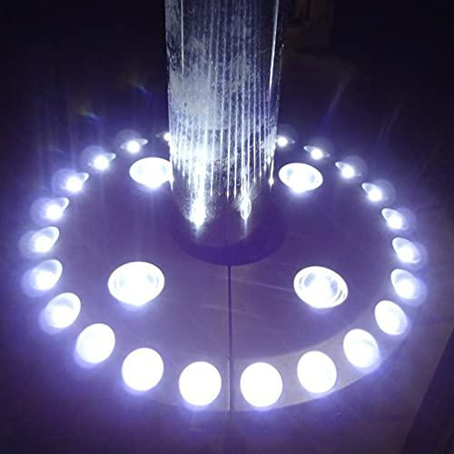 Uonlytech - Luz LED para sombrilla de jardín, 28 LED, 100 lúmenes, funciona con pilas, luz para sombrilla para camping, tiendas de campaña, patio, color plateado