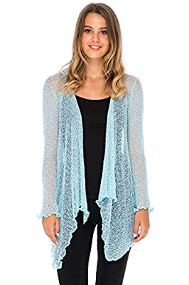 Back From Bali Womens Long Lightweight Sheer Cardigan Hoodie Open Front Hooded Knit Sweater Long Sleeve