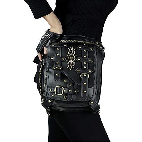 Sac de Taille Punk Messenger Sac Multifonctions Sac à bandoulière Crâne Noir en Cuir PU extérieur Bodypack (Color : Black, Size : 16x9.5x29cm)