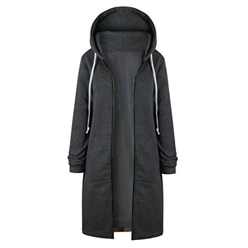 Longra Damen Mode Zipper Winterjacke Hoodie Oversized Parka Kapuzenjacke Frauen Warme Langmäntel offen Hoodies Sweatshirt Langer Winterparka Kapuzenmantel Outwear (5XL, Gray)