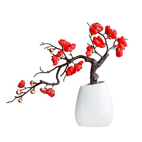 Flueyer Artificial Flower Plants Plum Blossom, Fake Bonsai Flower Arrangements with White Pot, Faux Potted Flower for Home, Office, Indoor and Outdoor Decor
