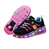 Led Luces Zapatos con Ruedas para Pequeños Niños y Niña Automática Calzado de Skateboarding Deportes Deporte Gimnasia Running Zapatillas Pink,31