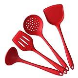 Espátulas 4pcs / Set Rojo y Negro Espátula/Cuchara/cuchara ranurada Gadgets de cocina de silicona Utensilios de cocina Utensilios de cocina Set (Color : Red, Size : C)