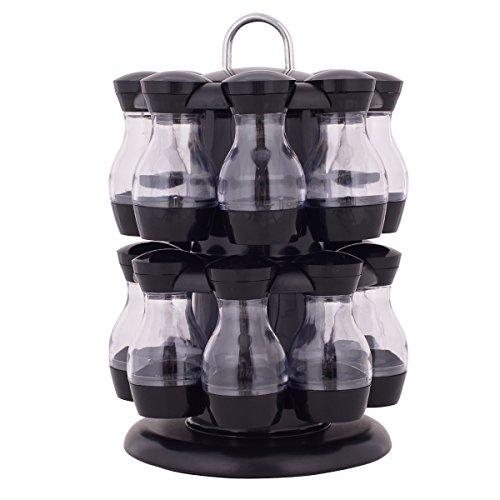 Drehbarer Gewürzständer Gewürzregal Gewürzkarussell Gewürzstreuer Gewürzebehälter mit 16 leeren Gewürzdosen tragbar aus ABS