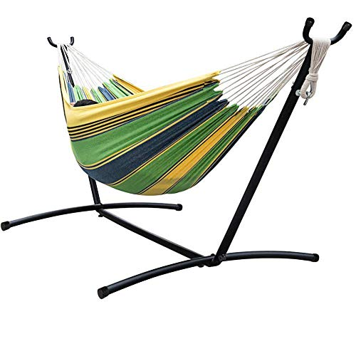 ZYX Outdoor Indoor Hammock Color-Matching Canvas Single Double Camping Hammock Hammock for Backpacking, Travel, Beach, Backyard, Terrace, Hiking