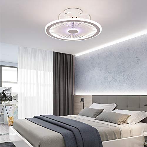 Lámpara de techo con ventilador, 3 velocidades, velocidad del viento, luz LED invisible, ventilador cerrado de perfil bajo, regulable con mando a distancia, 3 temperaturas de color