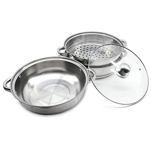 Dyrabrest 28CM 3 Tier Stainless Steel Steamer Cookware Cooker Pot with Glass Lid