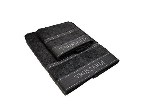 Trussardi Home Linen Handtuchpaar 1+1 (1 cm 60 x 110 + 1 cm 40 x 60) Art. Ribbon 60 x 110 cm 697 Dark Grey