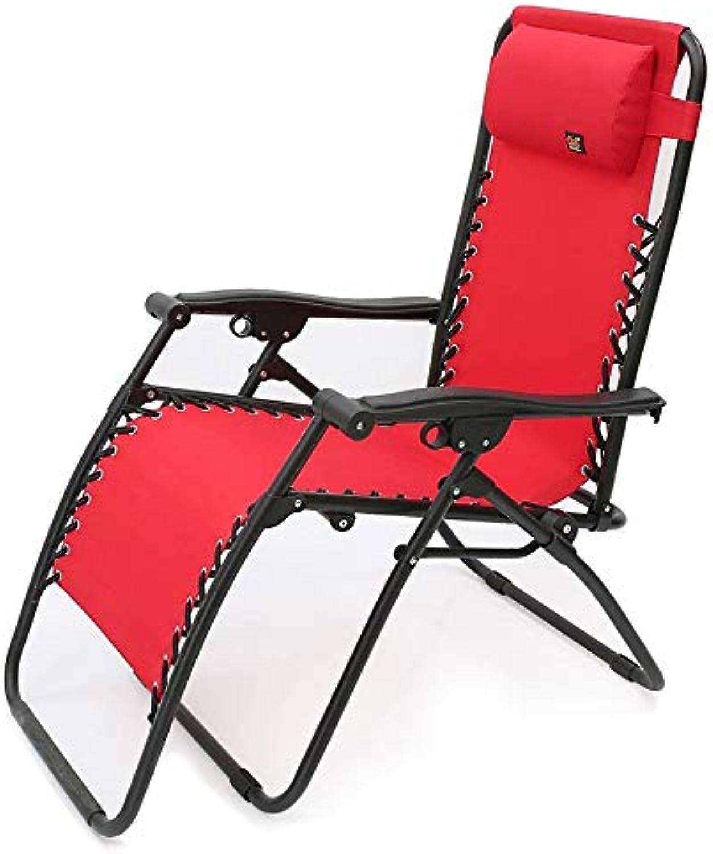 STURDY Liegen Klappsonnenliege schwerelosigkeit terrasse Stuhl im freien liegend Strand Rasen Camping tragbare Stuhl gartenstuhl mit nackenkissen unterstützung 200 kg (Farbe   Rot)