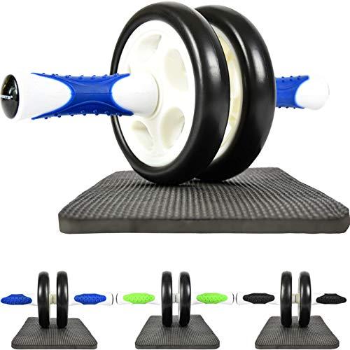 MSPORTS Bauchtrainer AB Roller Premium I Bauchtrainer mit Knieauflage I Bauchroller mit Komfortgriffen I Bauchmuskeltrainer I AB Wheel Muskeltrainer (Blau-Weiß)