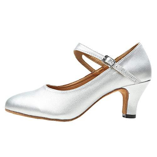 HIPPOSEUS Zapatos de Baile Latino para Mujer con Punta Cerrada - Zapatos de Vestir de Baile de Tango Modernos para Fiesta de salón de tacón bajo, Plata, EU 40