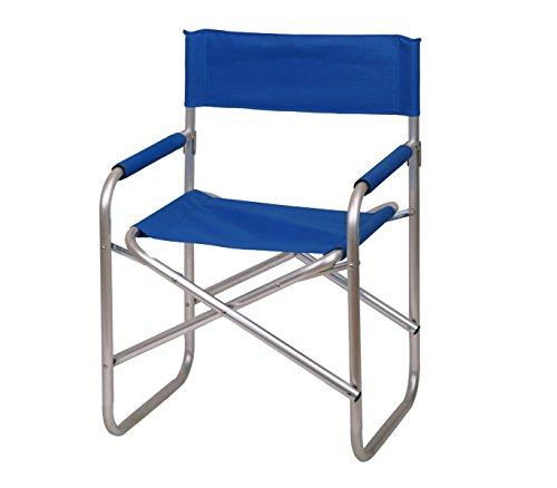 mws Mediawave Store 2964 Sedia Pieghevole Regista in Metallo e Tessuto Canvas di Colore Blu Idrorepellente