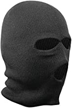 9M Adult's 3 Hole Knitted Full Face Cover Ski Mask, Winter Balaclava Warm Knit Double Layered for Outdoor Sports, Black