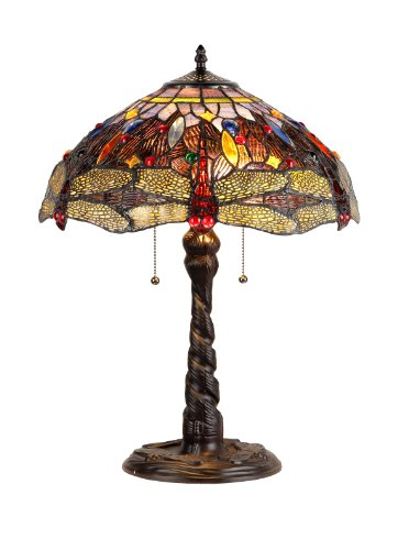 Multicolor Dragonfly 330 Piece Tiffany Style Round Lamp on Copper and Resin Stand