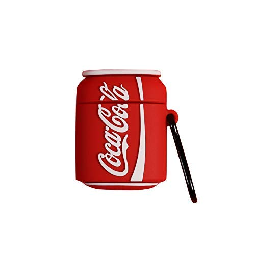 Ultra Thick Soft Silicone Red CocaCola Case with Bag Hook for Apple Airpods 1 2 Wireless Earbuds Coca Cola Coke Drink Can Bottle Cool Creative Unique Fun Funny Fashion Boys Girls Men Guys Summer