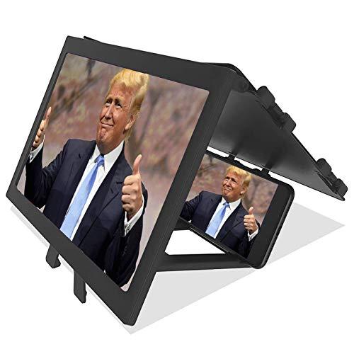 Prom-note 3D Bildschirmlupe Vergrößerungsglas 12-Zoll Faltbarer Smartphone Bildschirmverstärker Vergrößerter Bildschirm Für Filme, Videos, Spiele 3-fache Vergrößerung Antireflex
