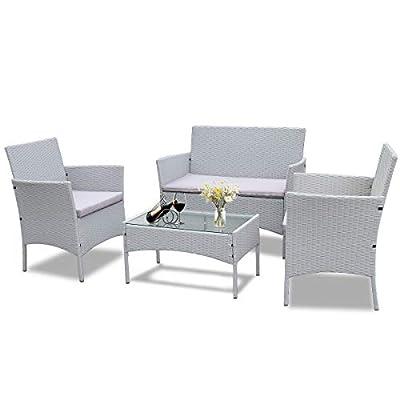 Bigzzia Rattan Garden Furniture Set, 4 Piece Patio Rattan Furniture Sofa Weaving Wicker Includes 2 Armchairs,1 Double seat Sofa and 1 Table (Grey)