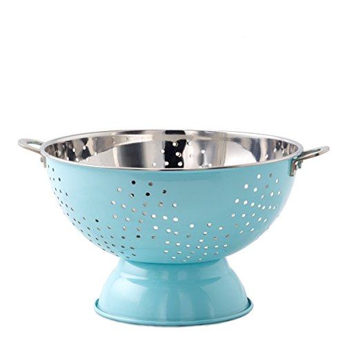 Old Dutch Aqua Blue Footed 9 Hammered Colander with Handles Stainless Steel
